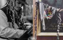 Johnny Depp playing piano in Montreux with his u-jack sparrow scarf