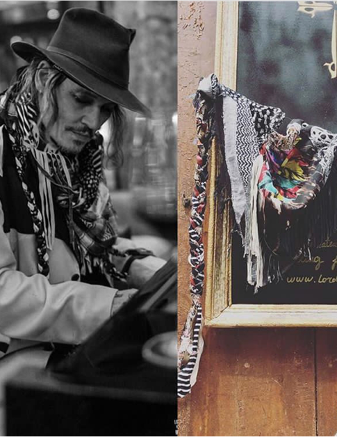 "Johnny Depp wearing Lord SM Paris scarves ""JAMAIS SANS MON U-JACK"""